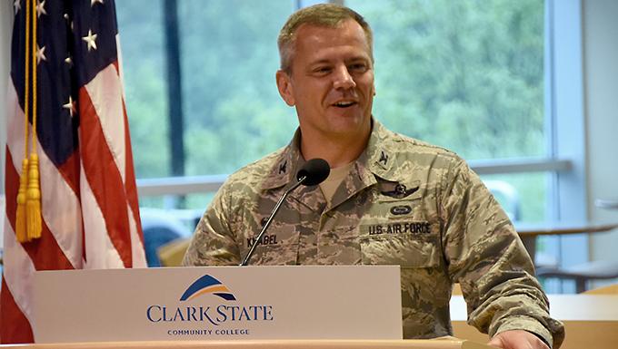 Col. Knabel speaks at Clark State Community College