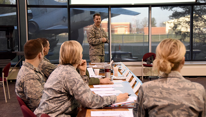 Lt. Col. Kent Kazmaier, 178th Wing inspector general speaks at the Tri-State Inspector General Conference, March 23 at the Springfield Air National Guard base, Ohio. Members representing five Air National Guard units participated to discuss ways to improve their inspection programs.